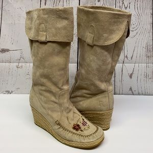 Boho Report Espadrille Suede Embroidered Tan Boots